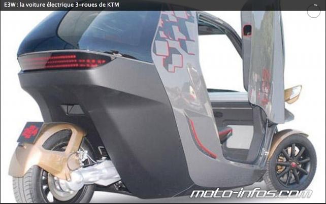 e3w la voiture lectrique 3 roues de ktm. Black Bedroom Furniture Sets. Home Design Ideas