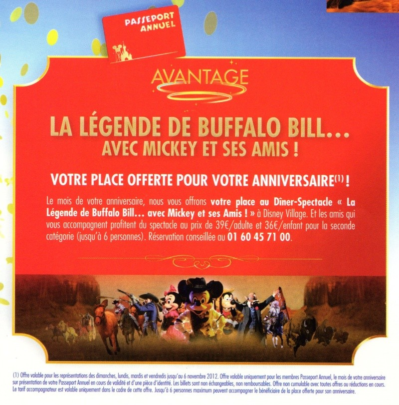 offre anniversaire buffalo bill disney