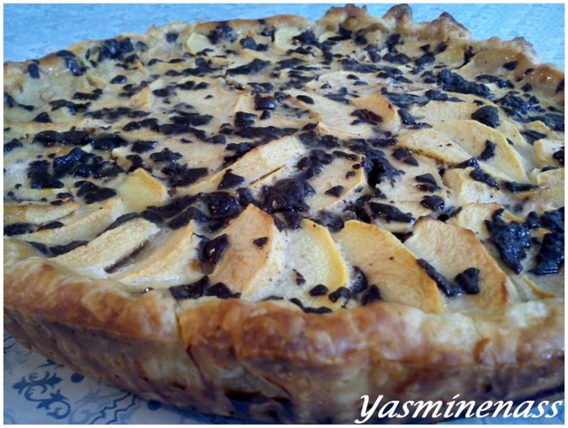 tarte aux pommes noix et copeaux de chocolat